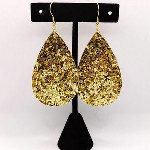 Gold and holo yellow glitter teardrop earrings